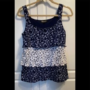 Absolutely Famous Sz S Navy Floral Gauzy Tiered